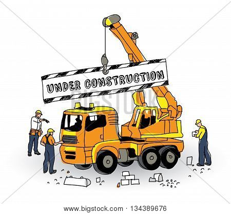 Under construction sign builder and objects on white. Color vector illustration. EPS8
