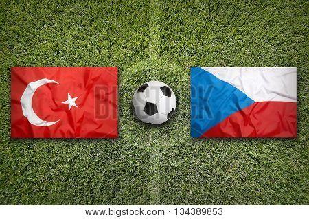 Turkey Vs. Czech Republic Flags On Soccer Field