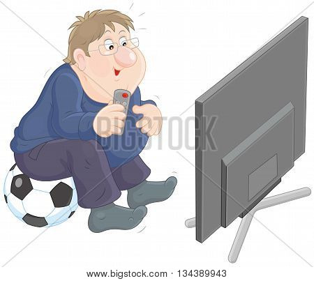 Vector illustration of a funny chubby man sitting on a football and watching TV