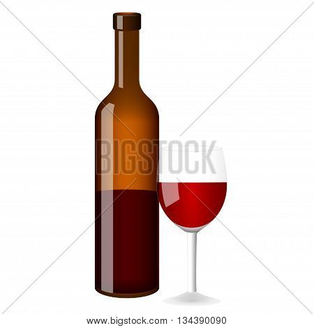 Red wine vector bottle and glass on white background