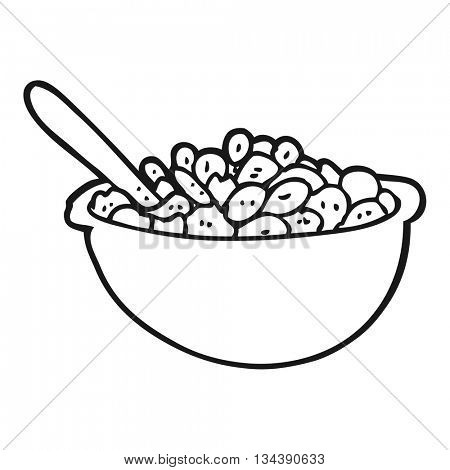 freehand drawn black and white cartoon bowl of cereal