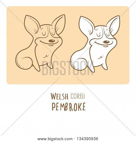 Card with cute cartoon dog breed Welsh Corgi Pembroke. Children's illustration. Little puppy. Funny baby animal. Vector image. Two variants contour  image, transparent background and white fill.