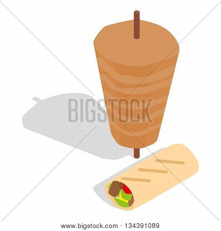 Traditional doner kebab icon in isometric 3d style on a white background