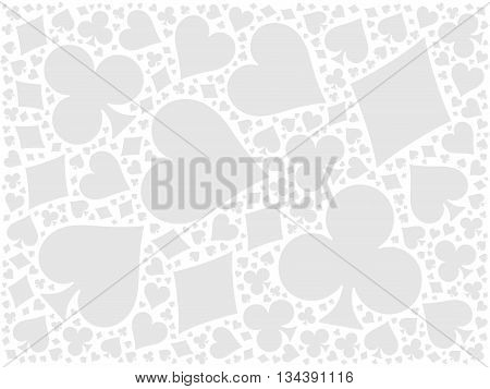 Poker cards mosaic background of four suits - hearts, diamonds, clubs, spades. Grey flat vector illustration on white background.