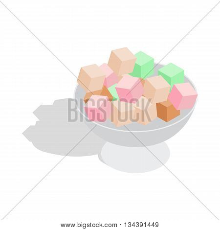Turkish delight icon in isometric 3d style on a white background