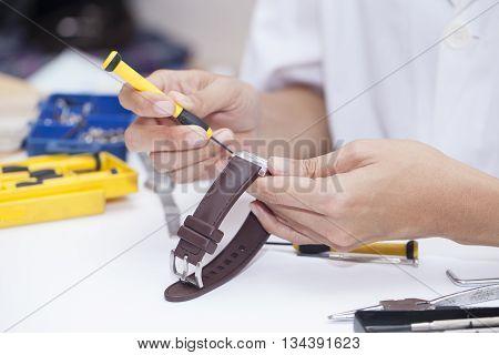 Repair and restoration of watches macro shot