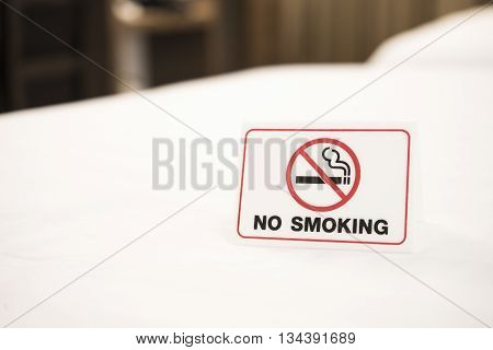 No smoking sign in bedroom at the hotel