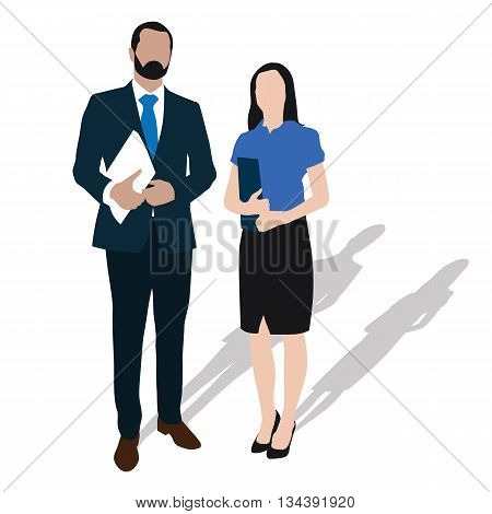 Two business people stand with documents in hand. Businessman and businesswoman standing in formal wear. Vector isolated illustration. Man with beard in suit