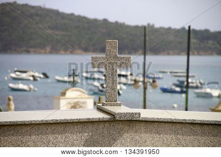 CEMETERY  OF SOUTHERN CORSICA,FRON THE SEA AND THE BOATS  FRANCE ,