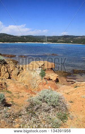 BEACH OF SOUTHERN CORSICA, BOAT RANCE ,