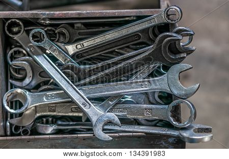 Collection of wrenches or spanners in workshop.