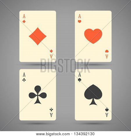 Aces Playing Cards. Set of vector illustration of ace playing cards.