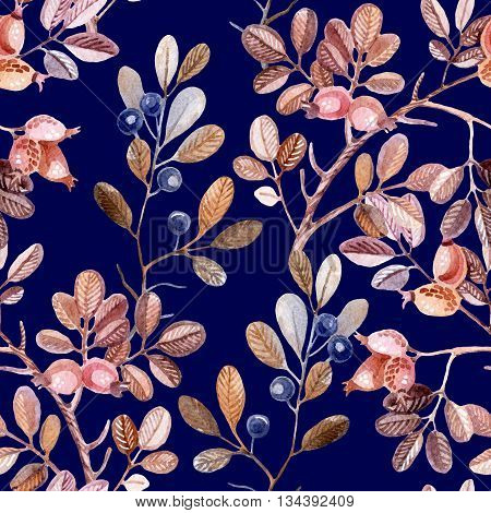 Watercolor seamless pattern with Dog Rose and blackthorn branches. Hand painted autumn background
