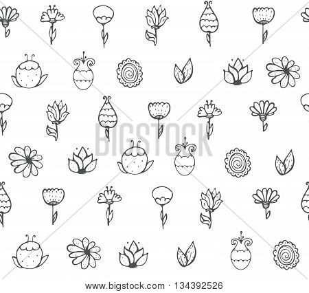 Seamless stylish vector texture with black and white doodle flowers simple handdrawn on white background. Pattern drawn with brush and ink by hand have imperfections can be used for print textile
