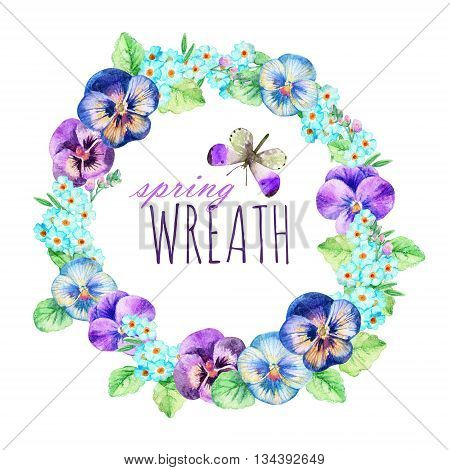 Watercolor wreath of pansies and forget-me-not. Hand painted floral frame for your design