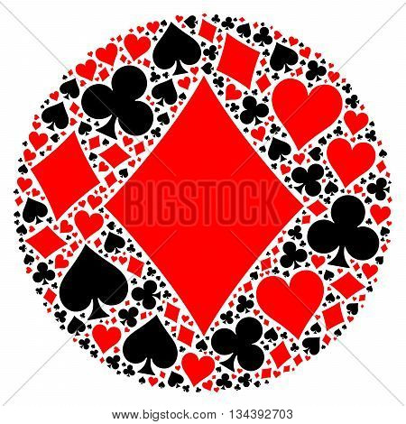 Mosaic circle of poker playing card suit with large red diamond suit in the middle. Flat vector illustration on white background