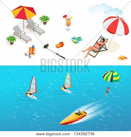 Beach icon set. Girl in a swimsuit on a deck chair, orange juice, sun umbrella, palm, sun glasses, photo, photo camera, sun hat, sun cream. Flat 3d vector isometric illustration