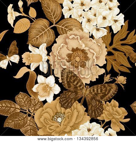 Seamless vector pattern with roses peonies daffodils hydrangea butterfly. Design of flowers leaves insects vintage style. Illustration of floral decoration gold on a black background.