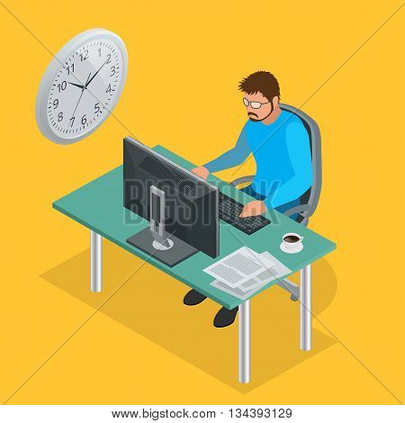Time to work or Time management project plan schedule. Sand clock flat 3d vector isometric illustration. Business man working background with laptop table.