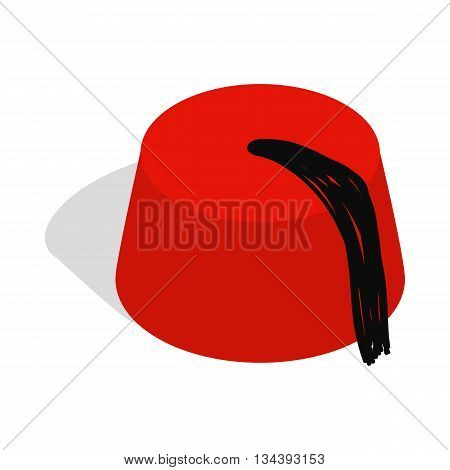 Turkish hat, fez icon in isometric 3d style on a white background