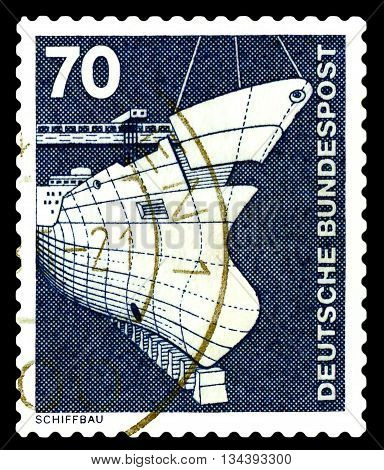STAVROPOL RUSSIA - APRIL 04 2016: a stamp printed by Germany shows Shipbuilding series Industry and Technology circa 1975