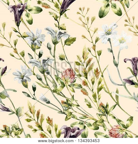 Watercolor wild flowers seamless pattern. Bell flower clover weeds and meadow herbs. Watercolor wild field background. Hand painted floral illustration in vintage pastel colors