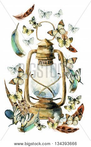 Watercolor vintage lamp with bird feathers and butterfly on white background. Colorful feathers rusty lamp and butterfly. Watercolor art illustration with rustic and boho elements.