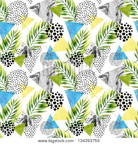 Abstract summer geometric seamless pattern. Triangles with palm leaf and marble grunge textures. Abstract geometric background in retro vintage 80s 90s pop art. Hand painted summer beach illustration