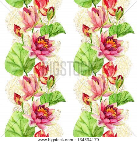 watercolor lotus flower on golden ornament. Watercolor flowers on indian paisley seamless pattern. Hand painted illustration on white background. Vertical orientation