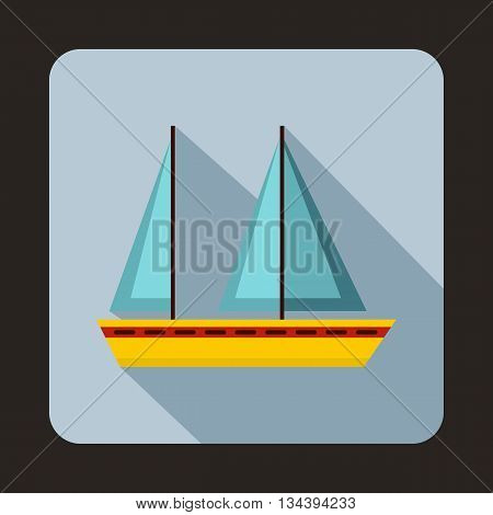 Sailing boat icon in flat style with long shadow. Sea transport symbol
