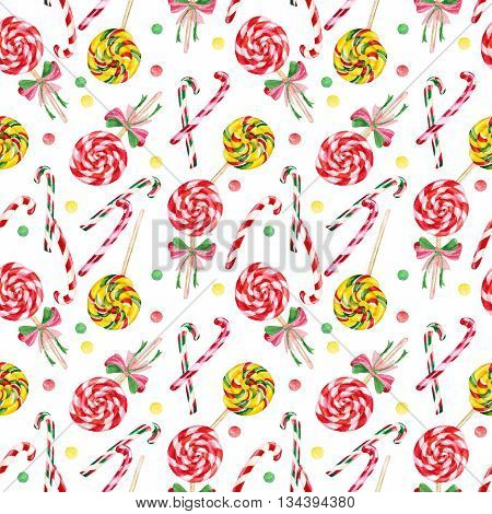 Lollipop candy cane seamless pattern. Yummy colorful background. Watercolor hand painted illustration