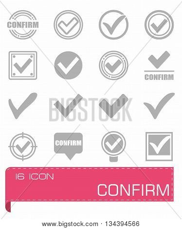Vector Confirm icon set on grey background