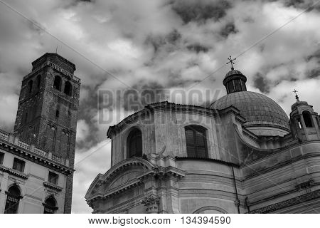 Campo San Geremia in Venice in black and white