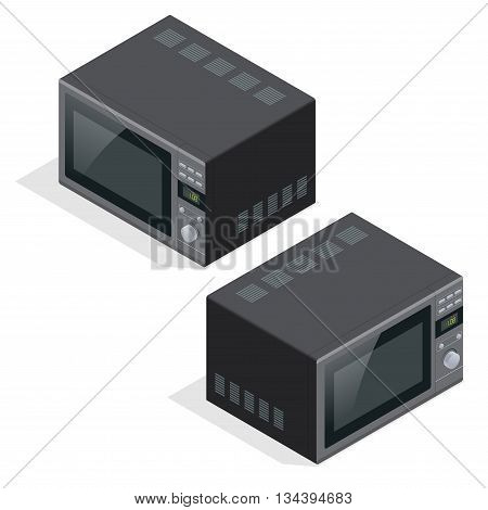Microwave oven isolated. Kitchen appliances for cooking and heating food. Flat 3d vector isometric illustration