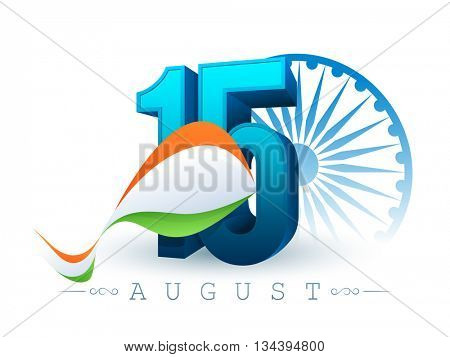 Glossy 3D Text 15 August with Tricolor waves on Ashoka Wheel decorated background for Happy Indian Independence Day celebration.