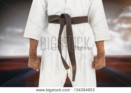 Mid section of karate player against digitally generated image of bi colored sports ground