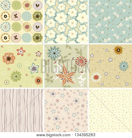 A set of seamless patterns. Good for wrapping paper and fabric design, Baby Shower, Birthday, Easter, Wedding, Greeting Cards, Mothers Day and scrapbook.