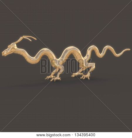 Golden Dragon smooth with unusual feet and slender fingers. In profile. With the glow on a black background