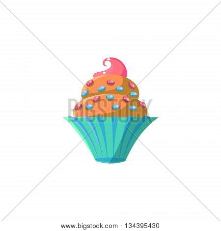 Cute Cupcake With Sprinkles Flat Vector Cute Girly Style Isolated Sticker On White Background
