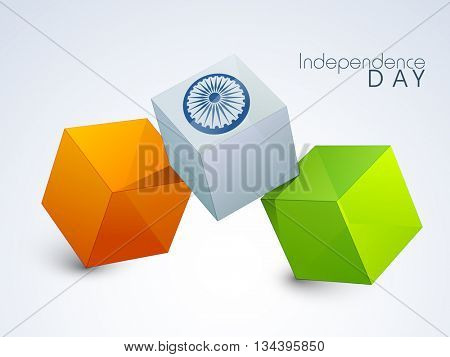 Glossy 3D Tricolor Cubes with Ashoka Wheel for Happy Indian Independence Day celebration.