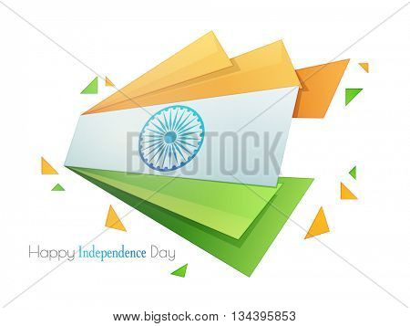 Glossy Indian Tricolor Stripes or Paper Banners with Ashoka Wheel for 15th of August, Happy Independence Day celebration.