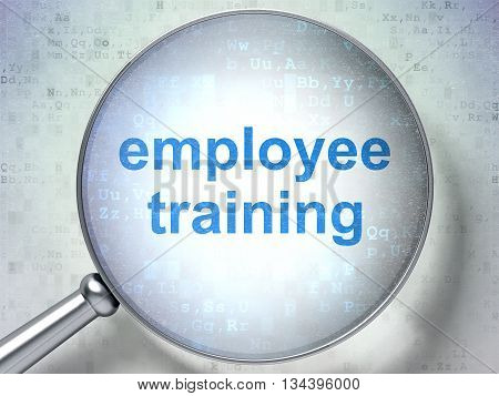 Learning concept: magnifying optical glass with words Employee Training on digital background, 3D rendering