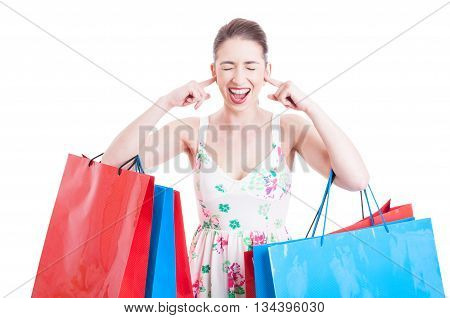 Lady Shopper Screaming Or Yelling With Ears Covered
