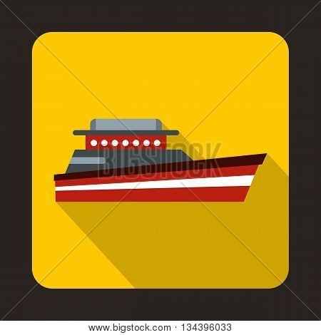 Great powerboat icon in flat style with long shadow. Sea transport symbol