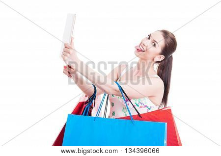 Lady Shopper Taking Selfie With Tablet And Being Funny
