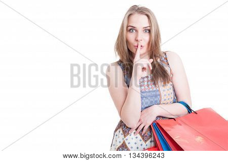 Silent Concept With Stylish Beautiful Woman Doing Shush Gesture