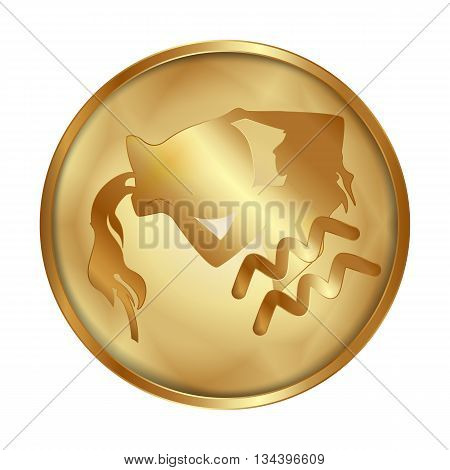 Vector illustration of zodiac Aquariussign on a gold disk in the form of a medallion. Isolated object can be used with any image or text.