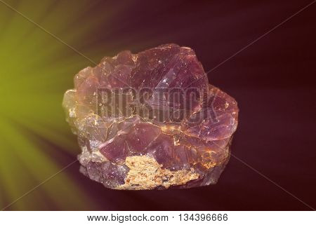 Natural Amethyst Crystallized Structure On Black Background