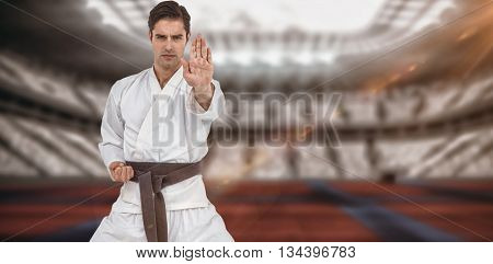Portrait of fighter performing karate stance against digitally generated image of stadium