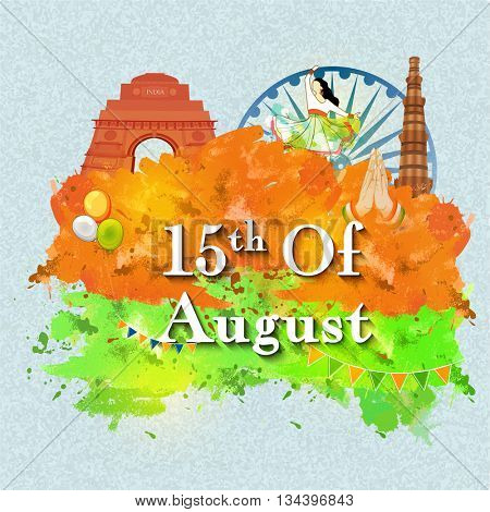 Glance of Indian Culture and Monuments with Saffron and Green color splash for 15th of August, Indian Independence Day celebration.